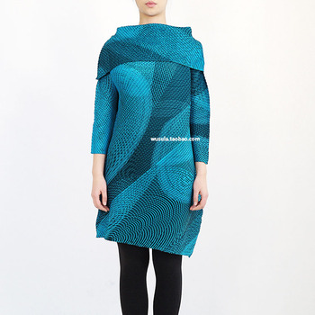 Miyake Abstract offset seven inch sleeve Lapel dress pleated dresses please dress free shipping