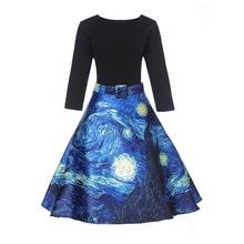 Chica de París vestido Vintage de cintura alta Ropa de Trabajo vestido Midi para mujer Van Gogh pintura nubes estampado Jupe Femme Saias