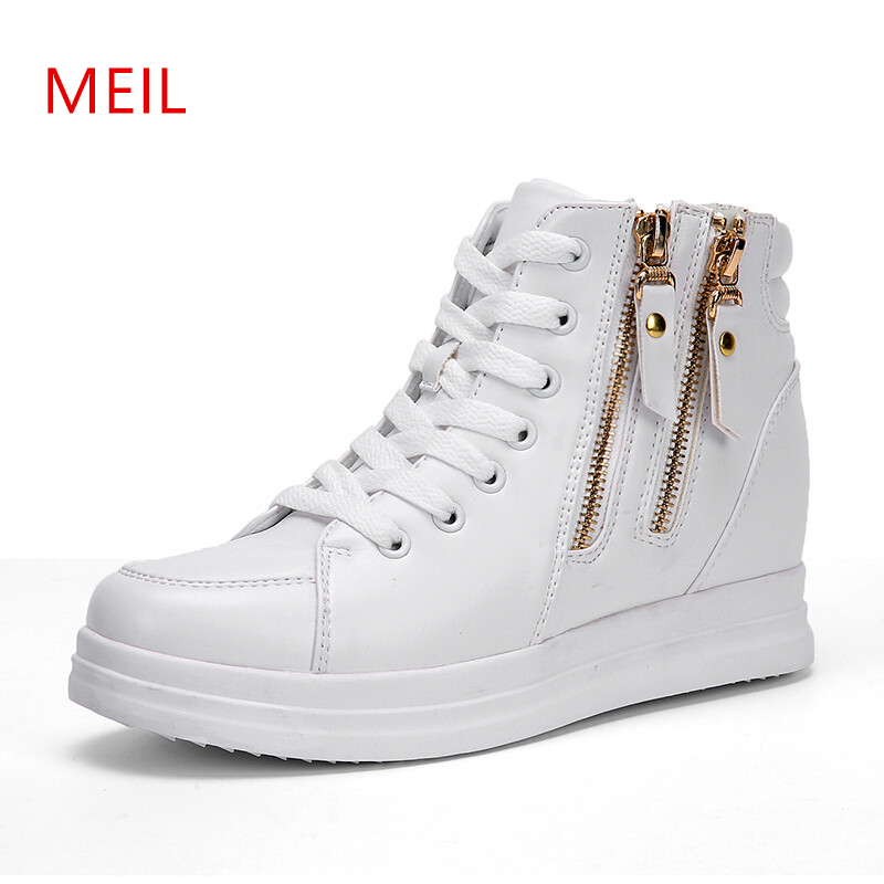 Wedges Women s Vulcanize Shoes Platforms Hightop Side Zipper Ladies Sneakers 2019 New Spring Platform Wedge