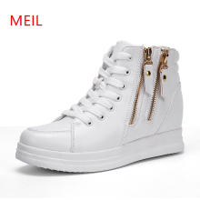 Wedges Women s Vulcanize Shoes Platforms Hightop Side Zipper Ladies Sneakers 2019 New Spring Platform Wedge