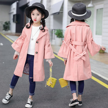 2019 new spring dress girls outerwear fashionable casual drawstring horn cute fan-sleeved girl trench
