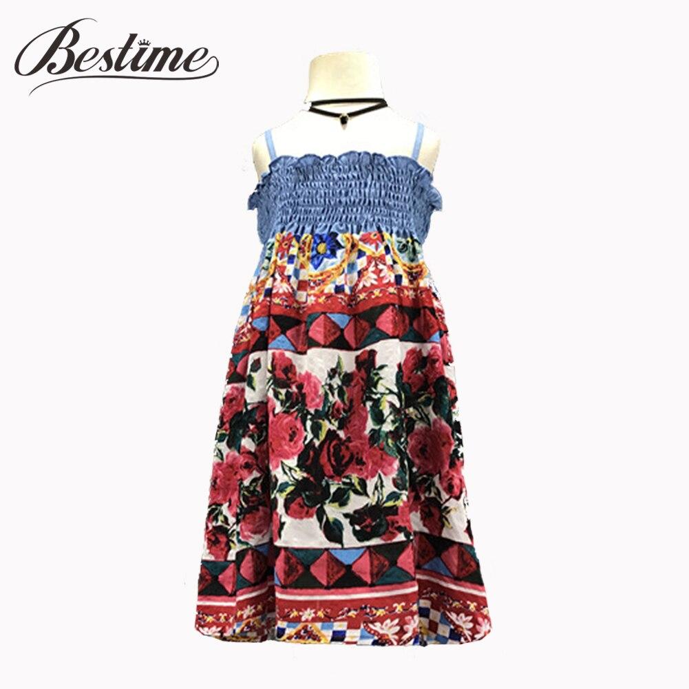 Bestime Girl Dress Flower-Printed Kids Clothes Cotton Children Summer Rose Shoulder