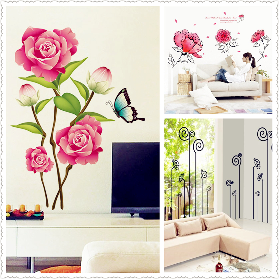 New 3d Pink Flower Butterfly Flower Ink Painting Wall Stickers Kitchen Home Decor Living Room