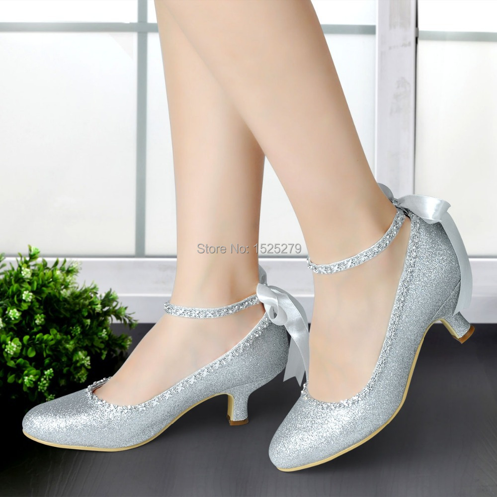 ФОТО  EP31010 Silver Gold Women Shoes Bridal Closed Toe Evening Prom Pumps Ankle Strap Glitter Rhinestone Bride Wedding Party Shoes