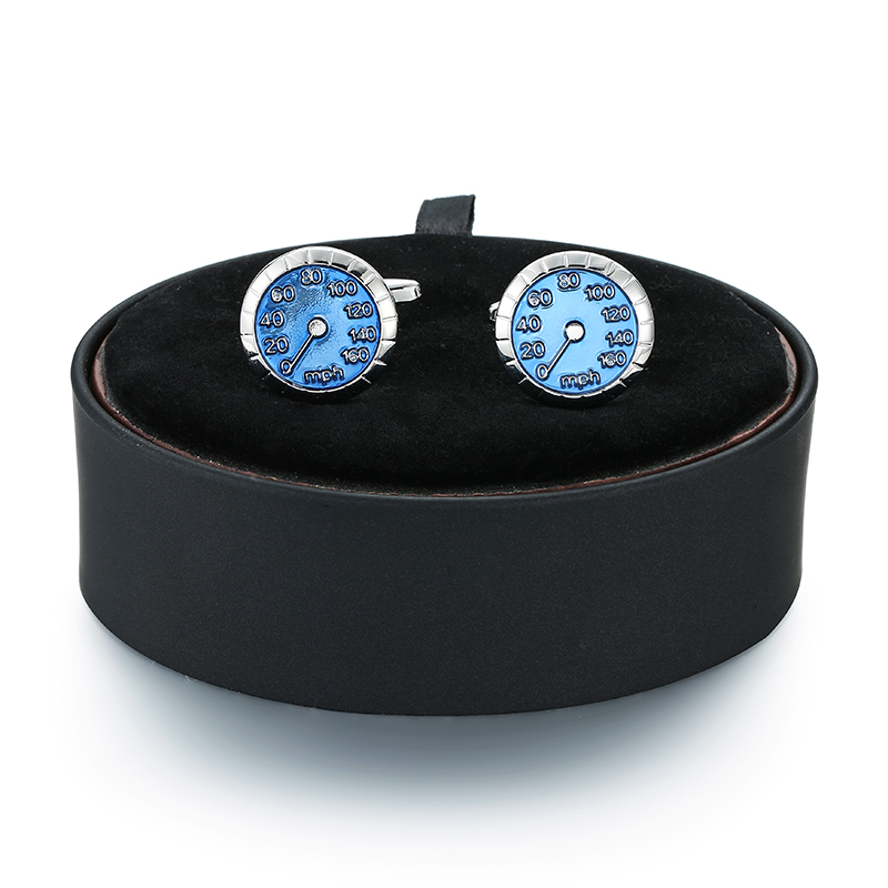 A set of new fashion mens French Cufflinks black leather box car speedometer Cufflinks box set wholesale