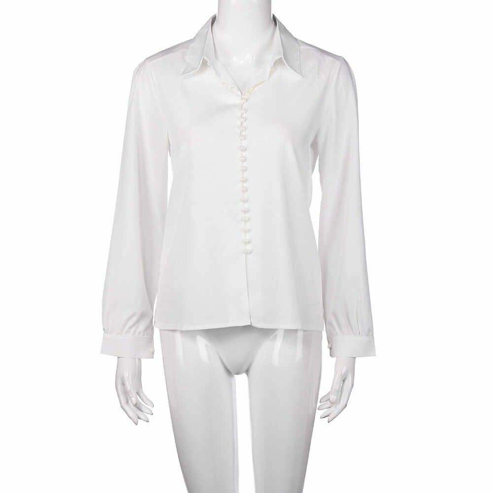 Damska wiosenna koszula damska na co dzień modna, z klapami damska koszula z długimi rękawami prosta jednorzędowa koszula bluzka Blusa Social # LR3