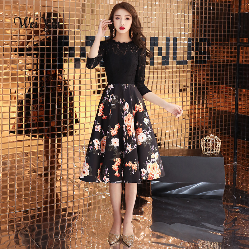 weiyin Short   Prom     Dresses   2019 Elegant A-Line Black   Prom     Dress   Gown Formal Party   Dresses   Evening Gown Vestido De Festa Curto