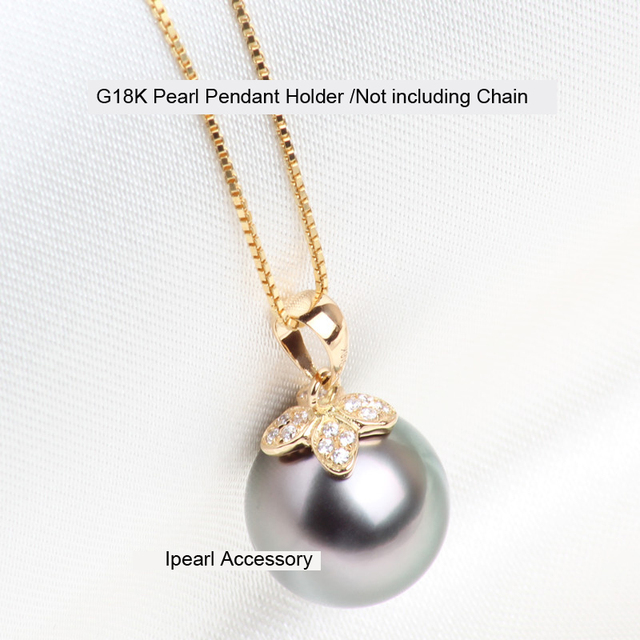 Fashion g18k gold clover pendant holder natural perfectly round fashion g18k gold clover pendant holder natural perfectly round pearl pendant findings luxury pendant components accessory mozeypictures Image collections