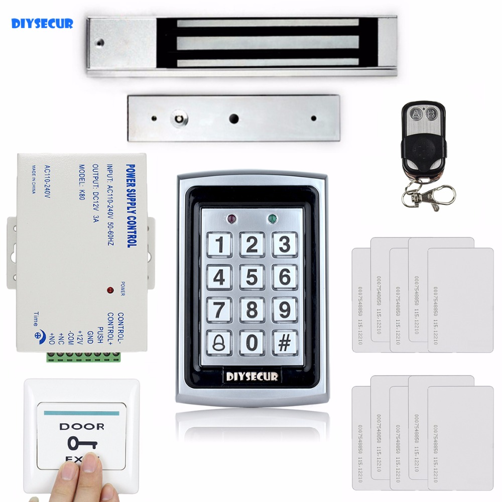 DIYSECUR Remote Control 125KHz RFID Metal Case Keypad Door Access Control Security System Kit +280kg Magnetic Lock + Exit Button diysecur 125khz rfid metal case keypad door access control security system kit electric strike lock power supply 7612