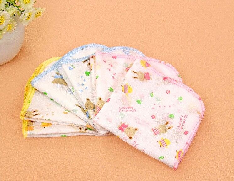 10PCS 100% Cotton Gauze Newborn Baby Infant Cartoon Face Hand Bathing Towel Bibs 31*31cm Feeding Square Towels Handkerchief