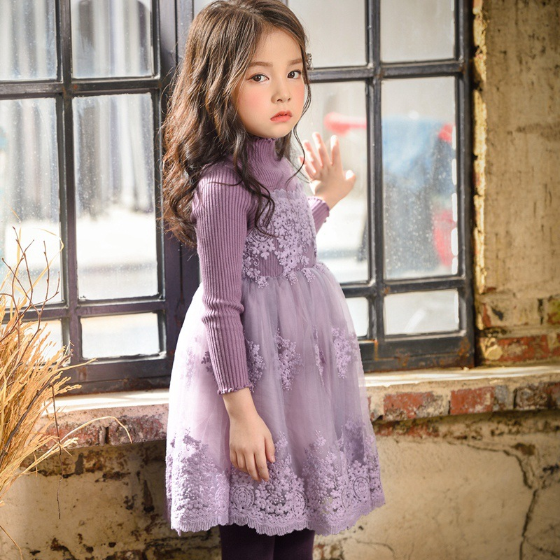 Floral Baby Girls Dresses for Party 2017 New Winter Cotton Kids Dress for Girl Sweet Girl Lace Dress Children Clothing 3ds080 fashion toddler girls princess dress elegant floral bow vestidos for baby girl winter infant kids cotton lace dresses