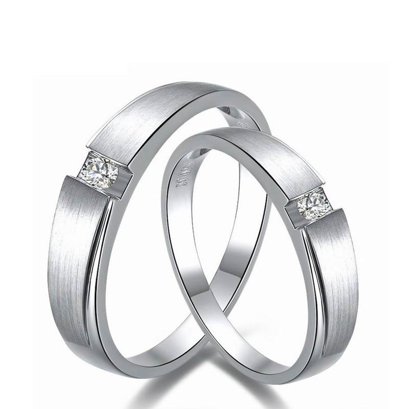 0.06ct 0.03ct dos homens mulheres Anel de Diamante 18 K Ouro Branco Anéis  De Casamento Casal Set Genuíno Anel de Noivado De Ouro Aliança de casamento c4f53f944d