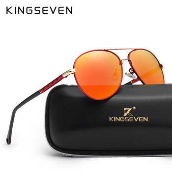 KINGSEVEN Brand Design Pilot Sunglasses Men and Women Polarized Mirror Hollow Frame UV Glass Goggles For Driving Fishing N7866 chic flower shape and hollow out embellished black and blue sunglasses for women