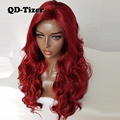 QD-Tizer Red Hair Synthetic Lace Front Wigs Body Wave Highlight Red Hair Color Long Heat Resisitant With Natural Baby Hair