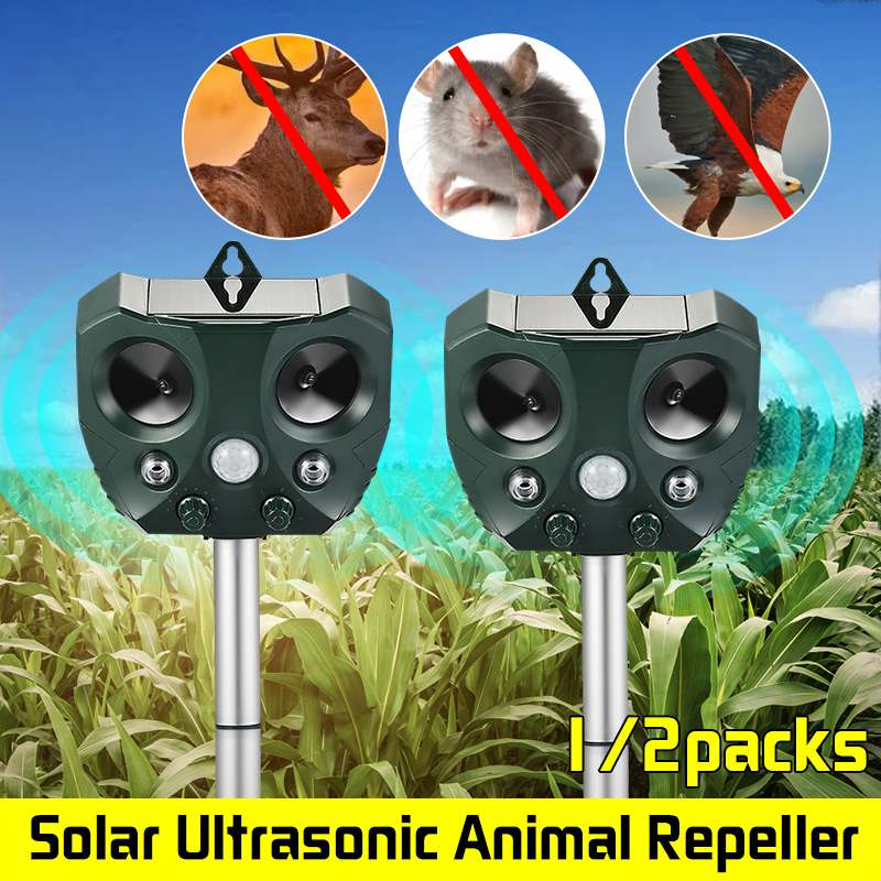 1/2 Pack KCASA Garden Solar Repellents Mouse Bird Cat Pet Dog Animal Repeller Controller Activated Motion Sensor Waterproof
