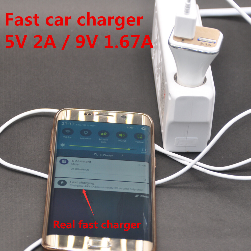 Real fast 5V 2A / 9V 1.67A Dock Dual USB Car Charger Adapter for Samsung Galaxy S6 S6edge S7 note 4 5 car Cigar Lighter charger