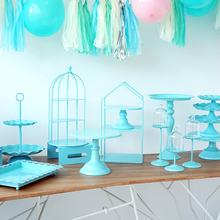 Детская синяя стойка для кексов, пирожное-Корзиночка, лоток для торта, инструменты для украшения дома, десертный стол, украшения вечерние, 3 яруса, клетка