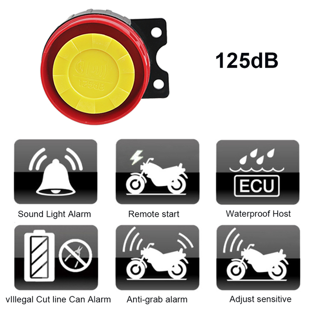 1Set 12V Motorcycle Scooter Anti-theft Security Alarm System Remote Control Start Bike ATV  Motorbike Protection for Suzuki ect 5