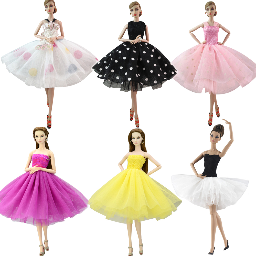 NK 2020 One Set  Princess Short Wedding Dress Noble Elegant Party Dress  For Barbie Doll Fashion Girl Doll Best Gift JJ