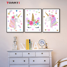 watercolor nursery wall art poster and print  unicorn horse flower stars canvas painting picture girls kids room home decor