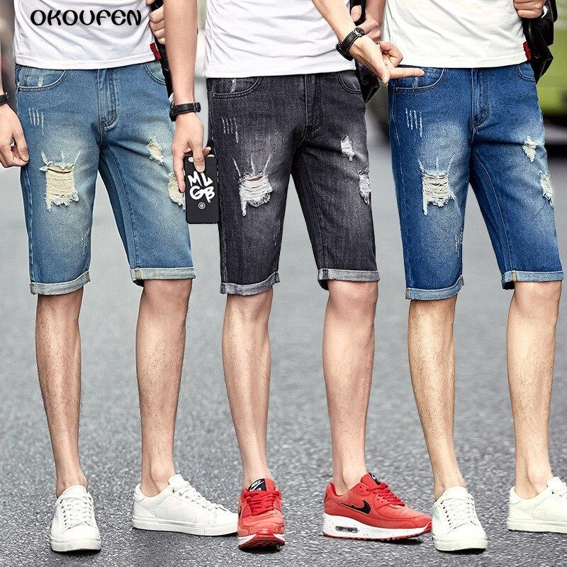 Ripped Hombre Hasta 36 Los Bermudas Verano Cortos 2018 Recto Tamaño La Hombres Jeans Denim Rodilla De Casual 28 Agujero Shorts X0PkNZnwO8