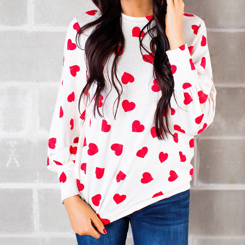 2018 Autumn Heart Pattern Printed Women T Shirt Female T-Shirt Tee Tops Fall Casual Long Sleeve Women's Tshirt Clothing WS5949S