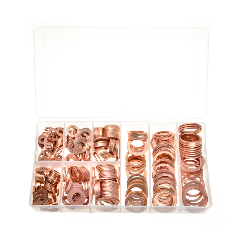 400pcs 9Sizes Gaskets Seal Flat Ring Sump Plug Washer Set with Case Brand New Assorted Solid Copper Crush Washers Kit jgrt car styling led fog lamp for acura tl led drl daytime running light high low beam automobile accessories