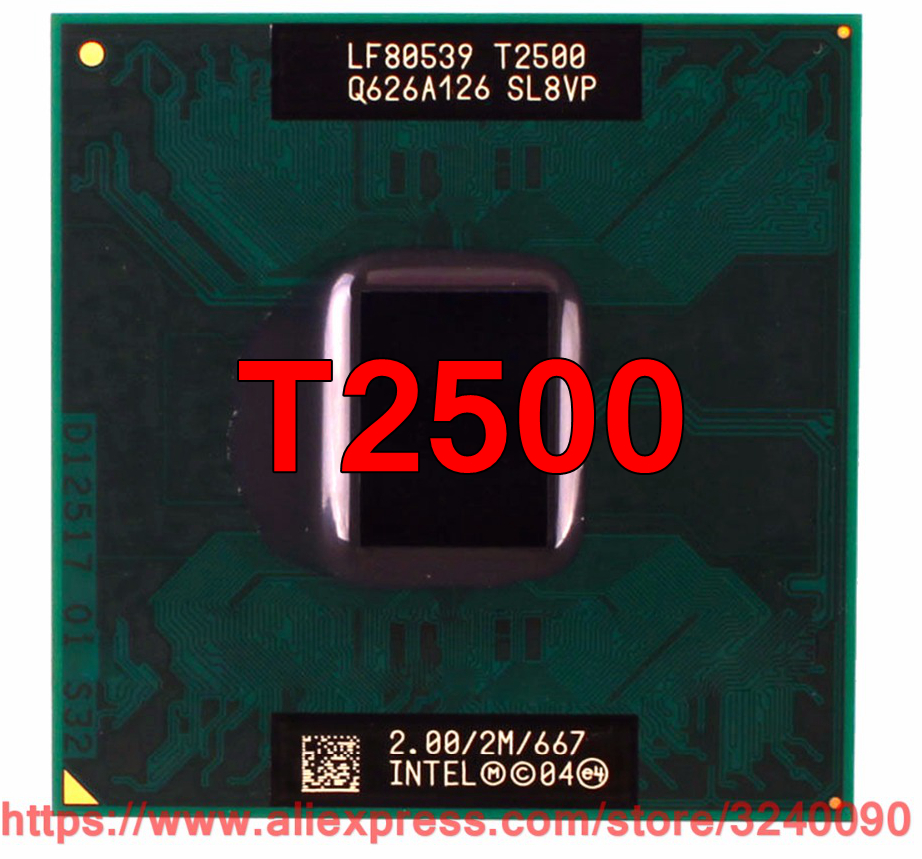 Original lntel Core 2 Duo T2500 CPU (2M Cache, 2.00 GHz, 667 MHz FSB, Dual-Core) For 945 chipset Laptop processor free shipping 1
