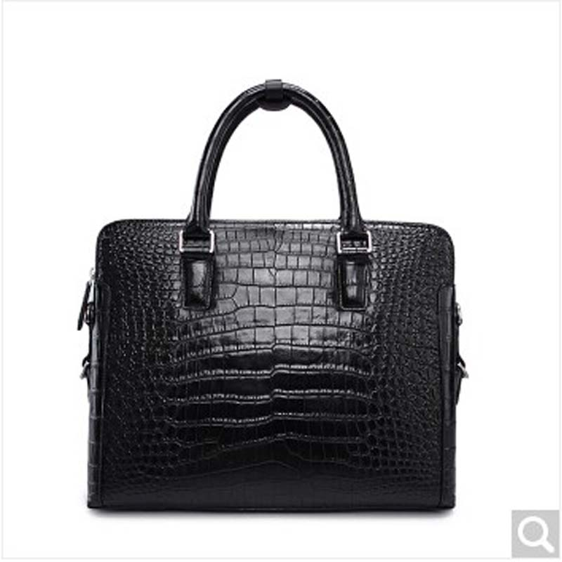 2018 weitasi Crocodile skin belly skin complete without stitching men handbag leisure business men tote bag Black men without women