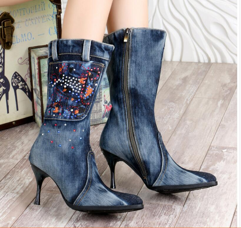 New Blue Denim Mid -Calf Boots Casual Crystal Stiletto Heels Cowboy Pointed Toe High Heels Jean Zip Knight Boots рубашка женская insight west crescent shirt mid blue denim
