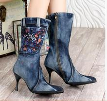 New Blue Denim Mid -Calf Boots Casual Crystal Stiletto Heels Cowboy Pointed Toe High Heels Jean Zip Knight Boots