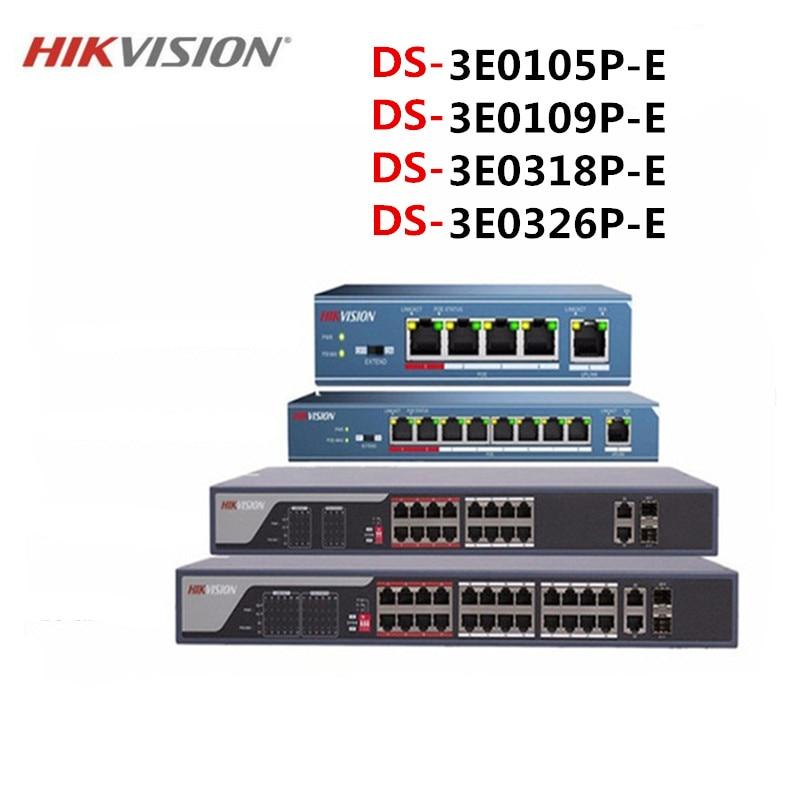 Hikvison 4-Port 8-Port 16-Port 24-Port PoE Switch DS-3E0105P-E DS-3E0109P-E DS-3E0318P-E DS-3E0326P-E 250m Transmission Distance