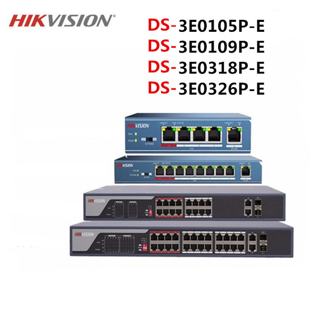 Hikvison 4 Port 8 Port 16 Port 24 Port PoE Switch DS 3E0105P E DS 3E0109P E DS 3E0318P E DS 3E0326P E 250m Transmission distance
