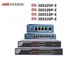 Hikvison interruptor PoE de 4 puertos, 8 puertos, 16 puertos, 24 puertos, DS 3E0105P E, DS 3E0109P E, DS 3E0318P E, distancia de transmisión de 250m