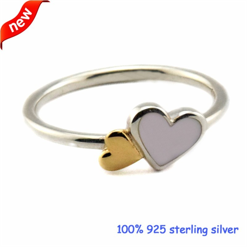 2016 Summer Jewelry Luminous Hearts Feature Ring With 14K Real Gold Bague Femme Rings For Women 925 Sterling Silver Ring Women  (3)