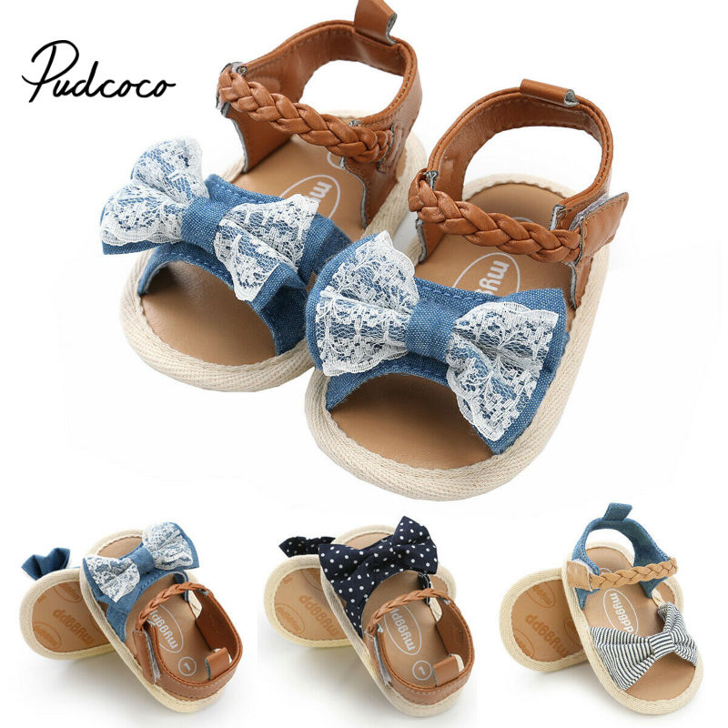 Newest Summer Kids Shoes 2019 Fashion Denim Sweet Children Sandals For Girls Toddler Baby Breathable Hoolow Out Bow Shoes
