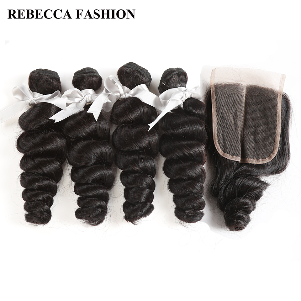 Rebecca Peruvian Loose Wave Bundles With Closure Non Remy Human Hair Weave 4 Bundles With 4x4 Lace Closure Hair Extensions