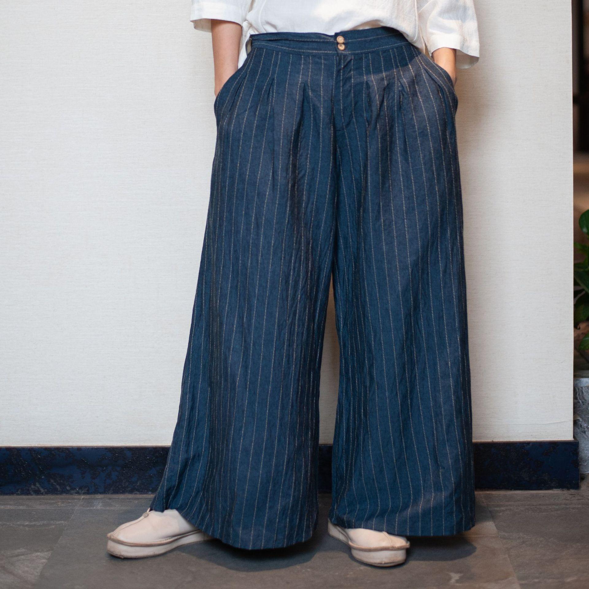 Original Chinese Style Women's Trousers Retro Stripe Casual Wide Leg Pants Navy Blue