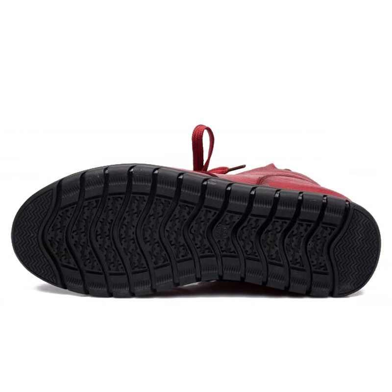 Drkanol 2019 Wanita Sepatu Bot Salju Vintage Asli Kulit Wol Alami Bulu Musim Dingin Hangat Pergelangan Kaki Sepatu untuk Wanita Datar Ibu Sepatu h7075