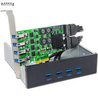 H1111Z Add On Cards PCIE USB 3.0 Card PCI E/PCI Express USB 3.0 Controller + 5.25 USB 3.0 Front Panel PC Computer Components NEW