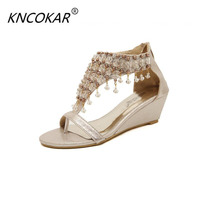 KNCOKAR 2018 With Roman sandals women wedges sandals for women's shoes new clip toe beaded pearl Bohemia cool slippers