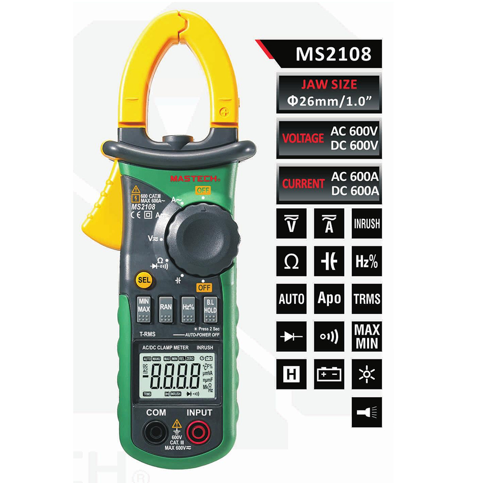 MASTECH MS2108 MS2108A Auto Range Digital Clamp Multimeter  DCAC Voltmeter Ammeter Current Resistance Tester multimetro