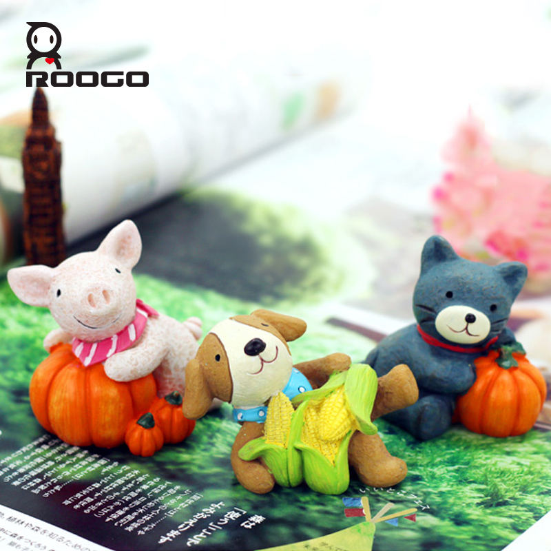 ROOGO resin rustic harvest festival craft small animal decoration home office desk ornament Terrarium figurines for Gift