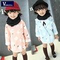 2016 осень и зима горячие новые девушки пальто детей в возрасте 4-11 длинный хлопок печати с капюшоном ветровка цветы