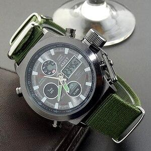 Image 3 - שעון גברים אופנה מקרית יוקרה מותג AMST Diver LED זכר ספורט צבאי רצועת עור עמיד למים שעון יד Relogio Masculino