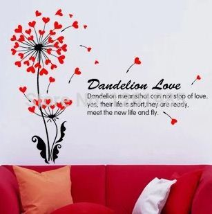 New Arrival Creative Dandelion Wall Art Decal font b Sticker b font Removable Mural PVC Home