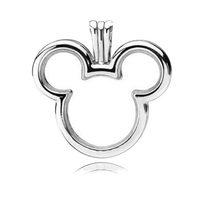 Large 100% Real 925 Sterling Silver Micky Floating Locket Charm Fit Original Pandora Necklace for Women Fine Jewelry Party Gift