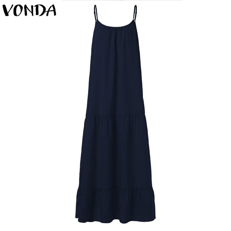 VONDA Bohemian Dress Women 19 Summer Sexy Sleeveless Spaghetti Strap Ruffle Swings Maxi Long Dresses Holiday Vestido Plus Size 13