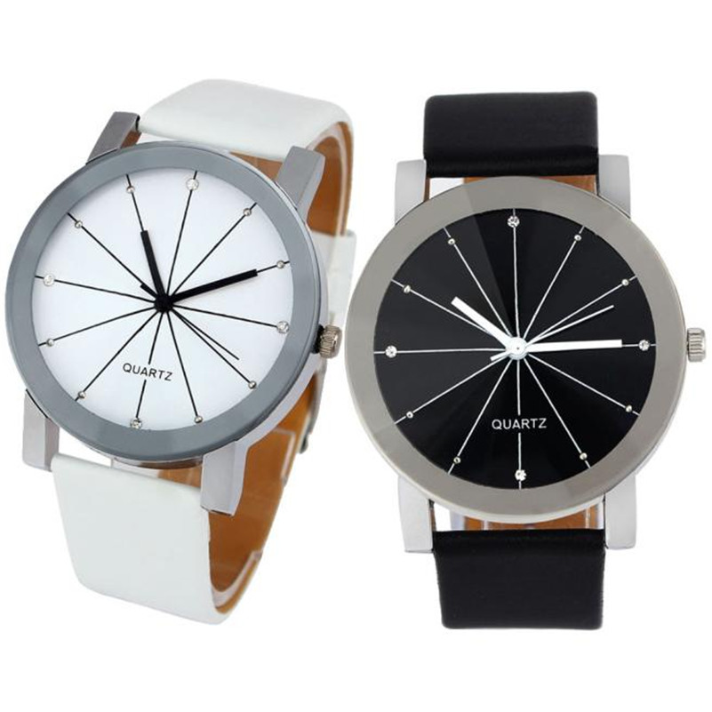 2017 Nice gift vogue mature luxury Geneva Crystal Men Quartz Dial Clock Leather Wrist Watch Round