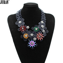 Wholesale 2017 new high quality women colorful flower design fashion necklace choker Necklace luxury statement Fashion Jewelry